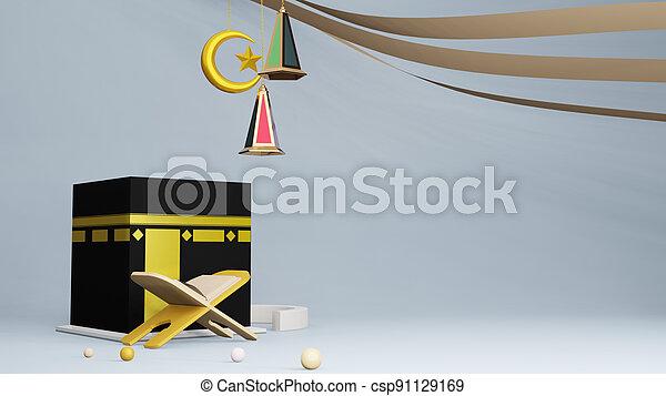 Quran or koran and Kaaba in Masjid Al Haram concept of islamic celebration eid al adha or hajj 3D illustration. 3D rendering - csp91129169