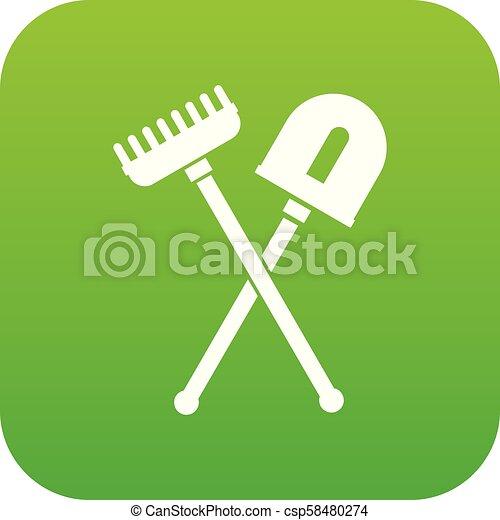 râteau, pelle, vert, icône, numérique - csp58480274