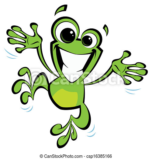 rã, excitado, pular, sorrindo, caricatura, feliz - csp16385166