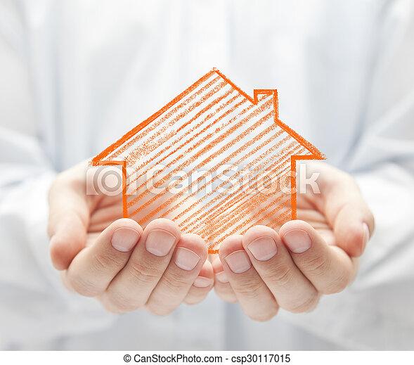 räcker, hus, teckning - csp30117015