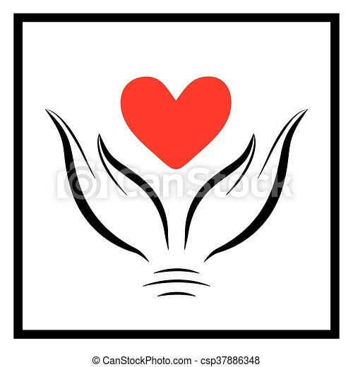 räcker, rött hjärta - csp37886348