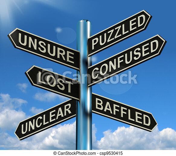 Ein verwirrtes, verlorenes Schild mit rätselhaftem Problem - csp9530415
