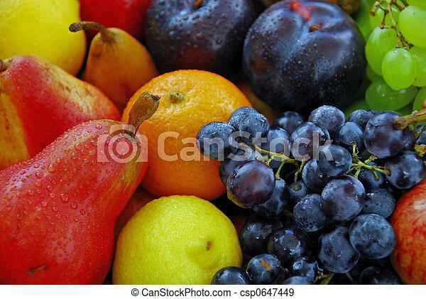rå frukt, blandad - csp0647449