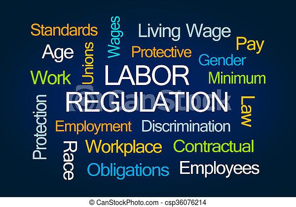 règlement, mot, nuage, main-d'œuvre - csp36076214