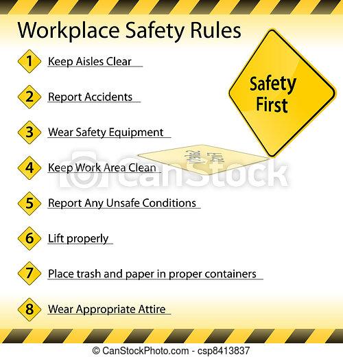 règles, sécurité, lieu travail - csp8413837