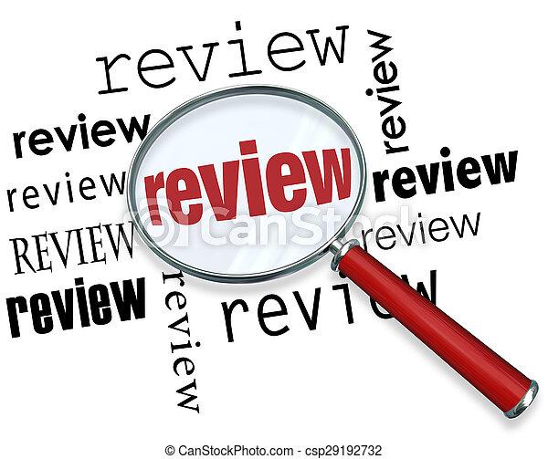 réaction, revue, reccommendations, regarder verre, mots, magnifier - csp29192732
