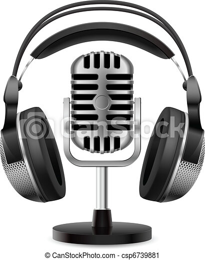 réaliste, microphone, écouteurs, retro - csp6739881