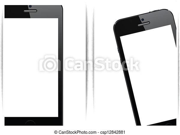 réaliste, smartphone, noir, arrière-plan. - csp12842881