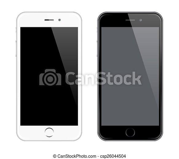 réaliste, téléphone, vecteur, mobile - csp26044504