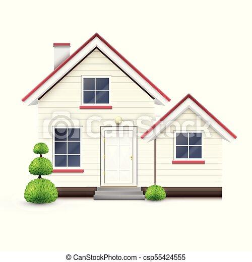 réaliste, vecteur, garage, maison