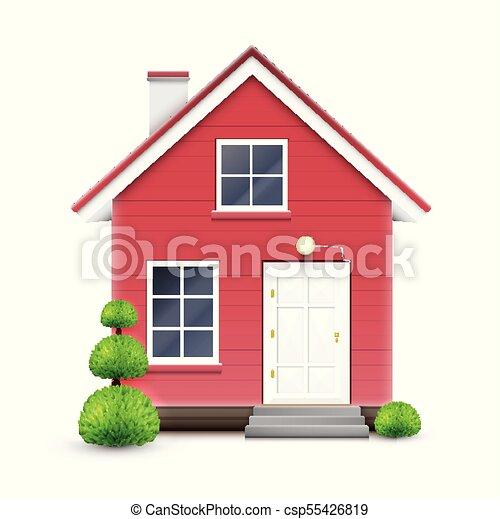 Réaliste, vecteur, maison.