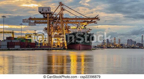 récipient cargaison, fonctionnement, pont, shipya, bateau fret, grue - csp22396879