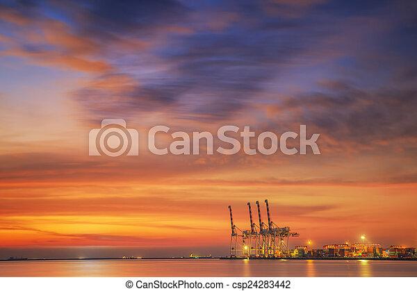 récipient cargaison, fonctionnement, pont, shipya, bateau fret, grue - csp24283442