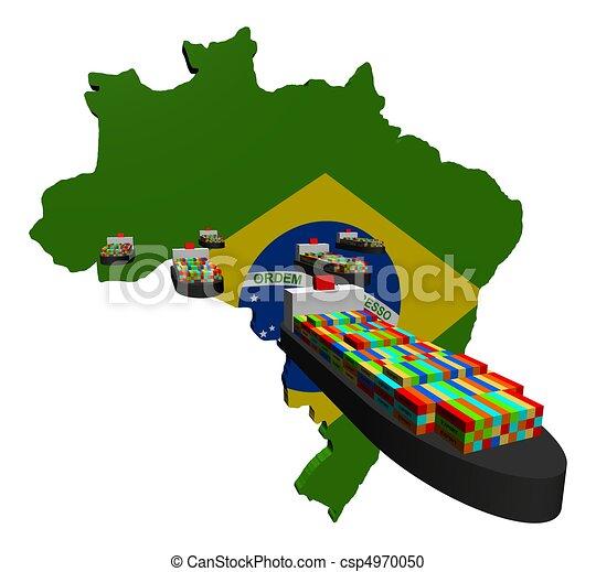 récipient, exportation, bateaux, brésilien - csp4970050