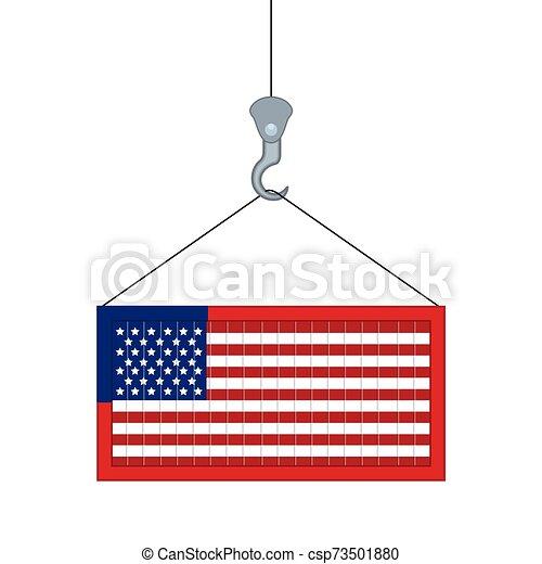 récipient, isolé, drapeau, usa - csp73501880