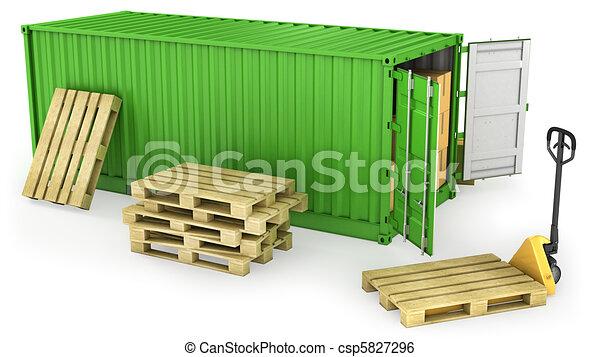 récipient, ouvert, beaucoup, palette, boîtes, carton, rouges - csp5827296