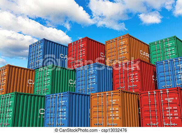 récipients, port, cargaison, empilé - csp13032476