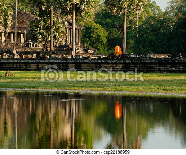 récolter, voyage, moine bouddhiste, cambodge, thom, temple., siem, complexe, wat, angkor, destinations - csp22188959