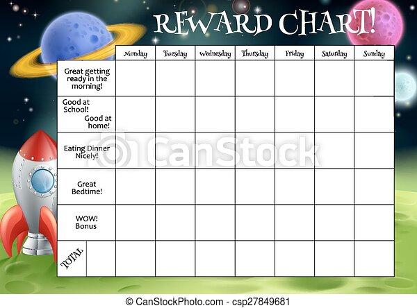 récompense, corvée, childs, diagramme, ou - csp27849681