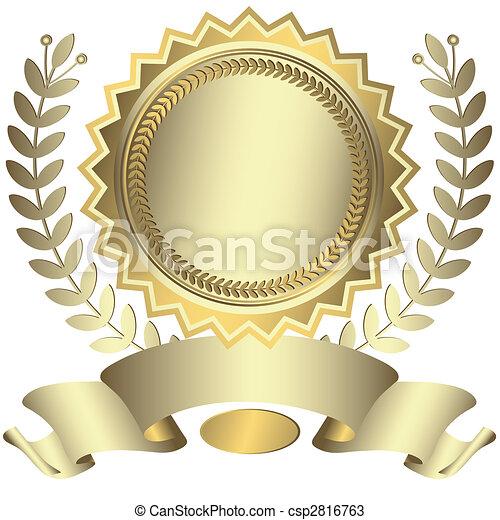 récompense, ruban, (vector), argenté - csp2816763