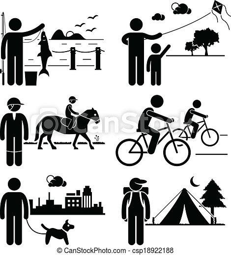 récréatif, extérieur, loisir, gens - csp18922188