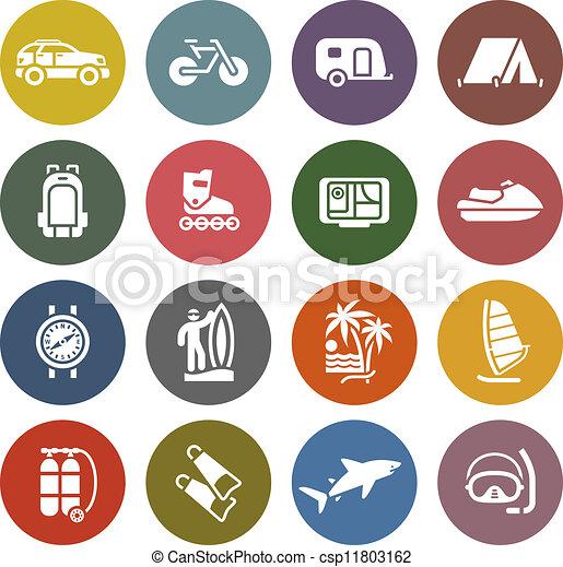 récréation, ensemble, &, vacances, icônes, voyage - csp11803162