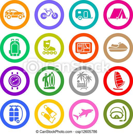 récréation, ensemble, &, vacances, icônes, voyage - csp12605786