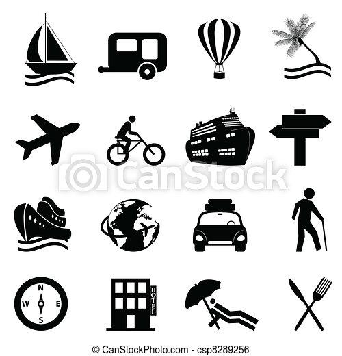 récréation, ensemble, voyage, icône, loisir - csp8289256