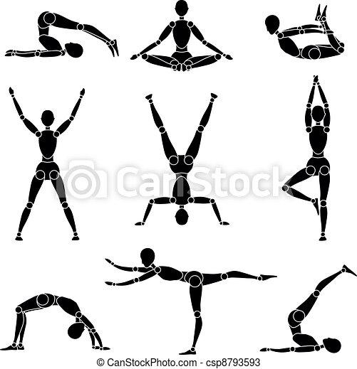 récréation, silhouette, gymnastique, yoga, modèle, homme - csp8793593