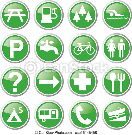 récréation, vert, icônes - csp16145458