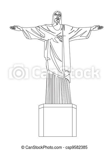Dessin Christ Redempteur rédempteur, christ. christ, rédempteur, sur, isolé, illustration