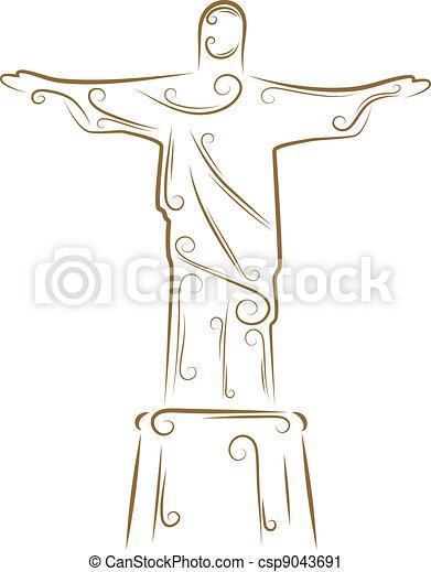 Dessin Christ Redempteur rédempteur, christ, statue. doré, croquis, christ, rédempteur