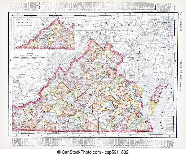 régimódi térkép, egyesült, usa, va, szín, egyesült államok, virginia - csp5911832