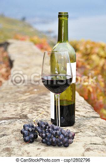 région, vignoble, verre, terrasse, bouteille, suisse, vin, rouges, lavaux - csp12802796