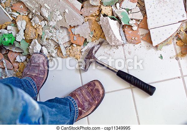 rénover, salle bains, remettre à neuf - csp11349995