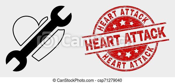 réparation, grunge, coeur, timbre, attaque, vecteur, cachet, icône - csp71279040