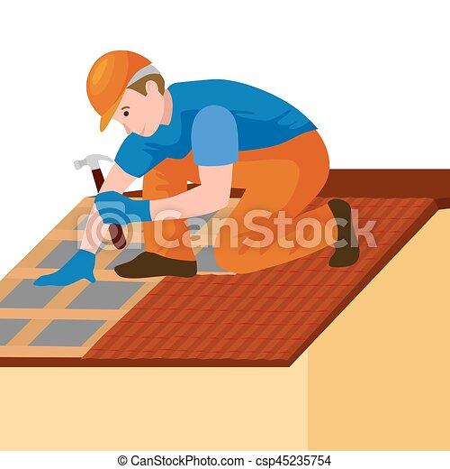 Réparation, Maison, Équipement, Dehors, Outils, Toit,  Clipart
