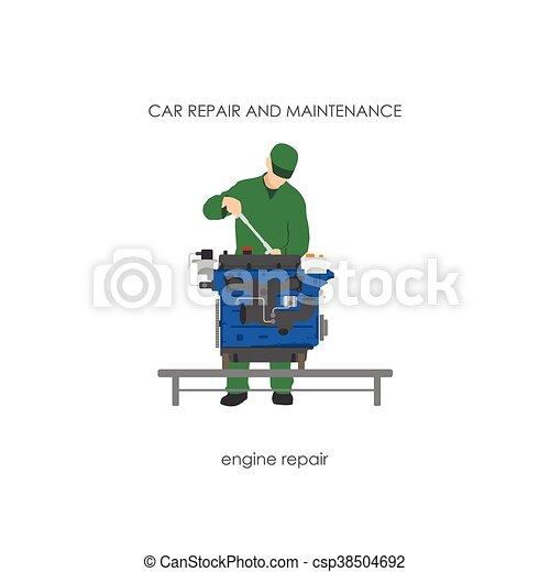 réparation, moteur, salopette, mécanicien, voiture - csp38504692