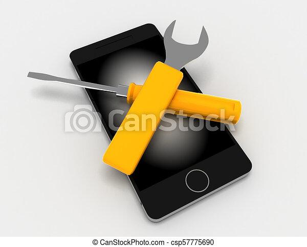 réparation, rendu, illustration, téléphone, fond, blanc, 3d - csp57775690