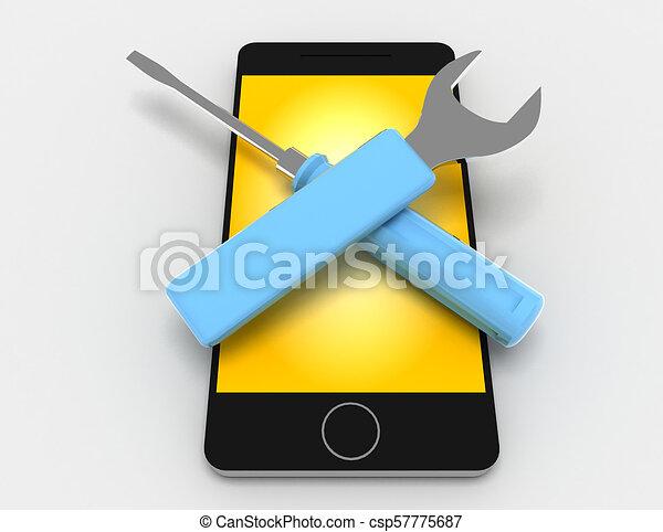 réparation, rendu, illustration, téléphone, fond, blanc, 3d - csp57775687