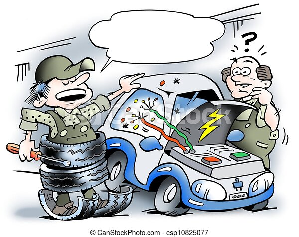 R paration s curit voiture lectrique quipement - Dessin humoristique voiture ...