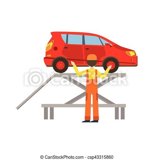 R paration service v rification voiture garage atelier clip art vectoriel rechercher - Garage pour reparation de voiture ...