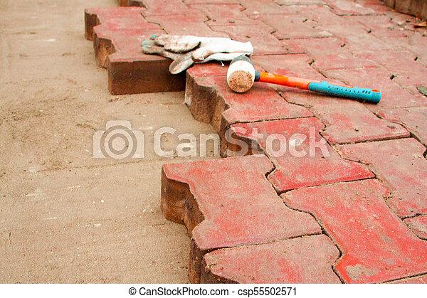 réparation, ville, carrée, pose, pavage, dalles - csp55502571