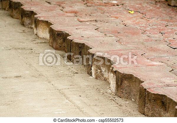 réparation, ville, carrée, pose, pavage, dalles - csp55502573