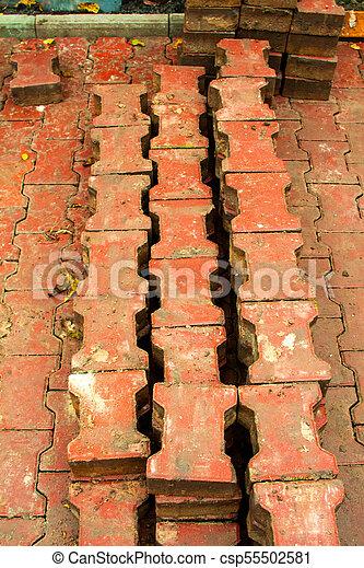 réparation, ville, carrée, pose, pavage, dalles - csp55502581