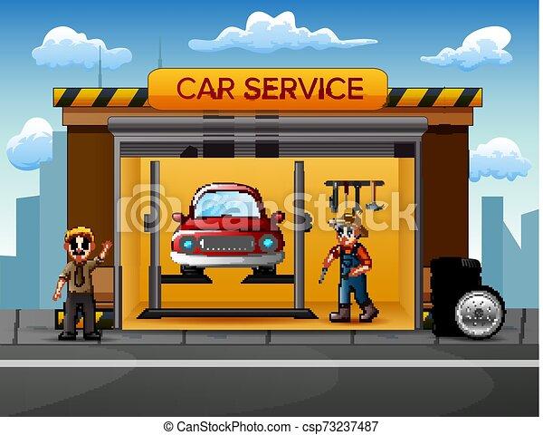 réparation, voiture, équipage, atelier, mécanicien, dessin animé - csp73237487
