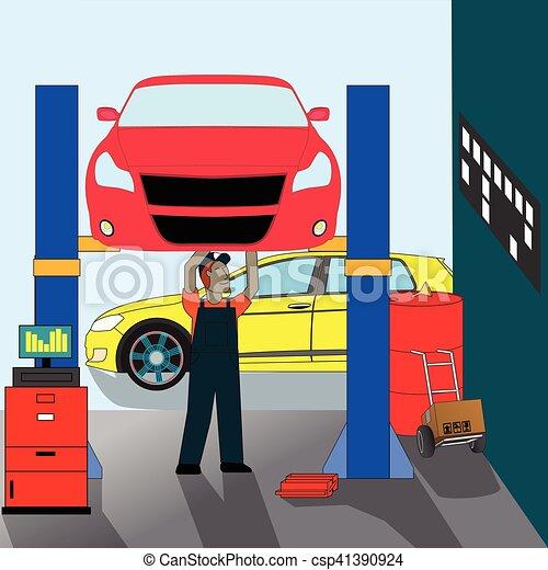 réparation, voiture, debout, mécanicien - csp41390924