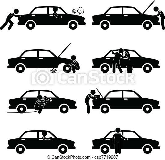 réparation, voiture, fixer, laver, pneu, chèque - csp7719287