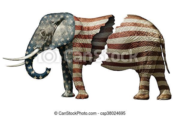 républicain, fracturé, éléphant - csp38024695