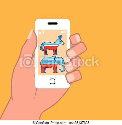 républicain, smartphone, démocrate - csp35137638